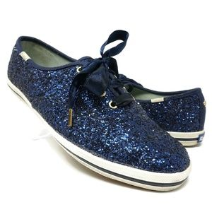 Keds x Kate Spade Glitter Sneakers Blue Size 7.5